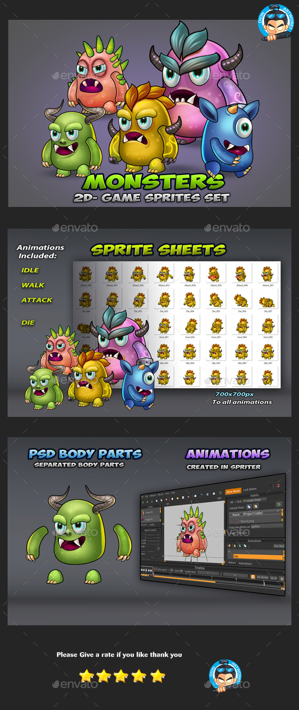 GraphicRiver 5 Monster Enemies Game Sprites 21034876