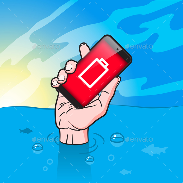 GraphicRiver Drowning man with Smartphone in Hand 21035017
