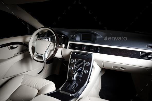Car dashboard, modern luxuty interior, steering wheel - Stock Photo - Images