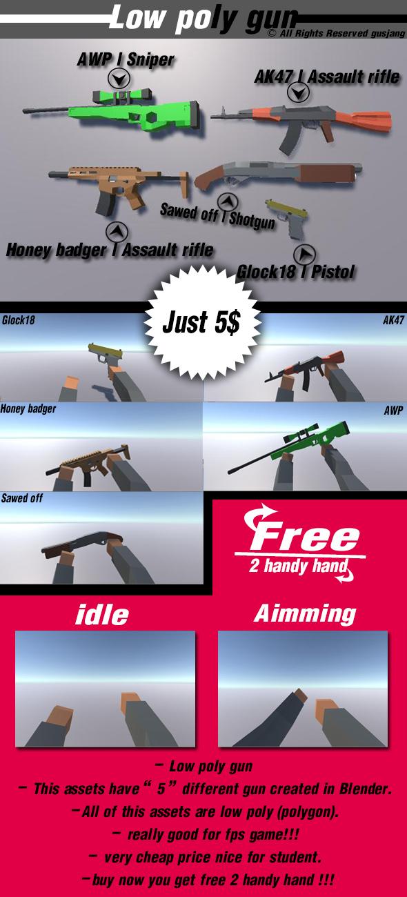 3d model Low poly gun
