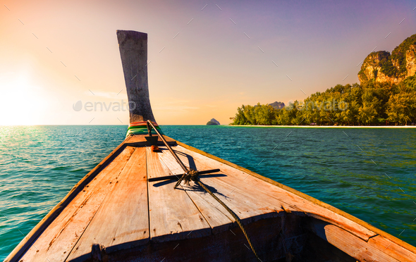 Longtail Boat in Beautiful Thailand Against Evening Sky - Stock Photo - Images