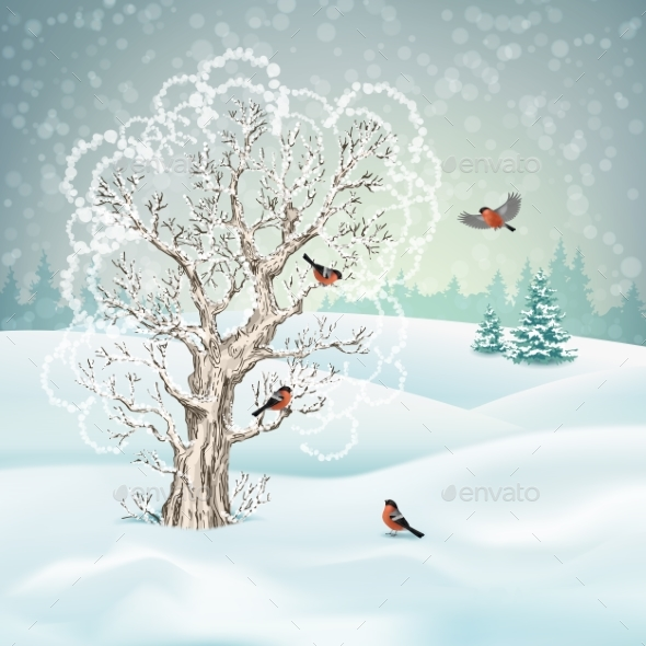 GraphicRiver Vector Winter Landscape 21035798