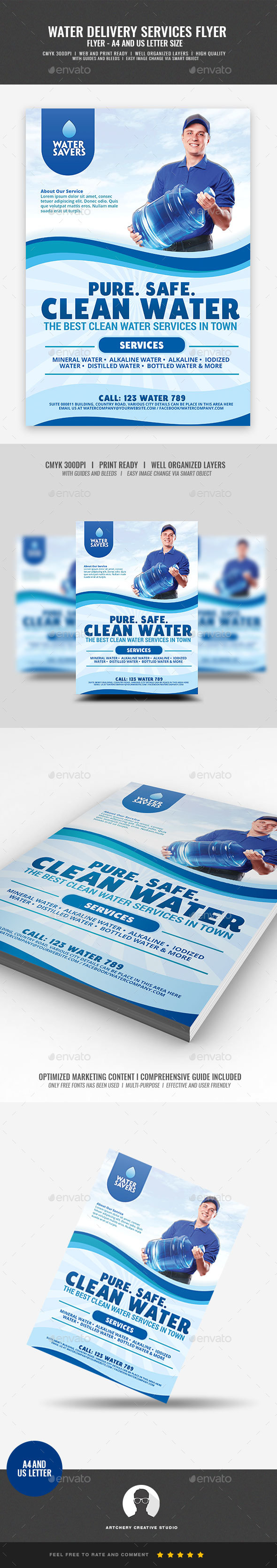 Water Refiling and Delivery Station Flyer - Corporate Flyers