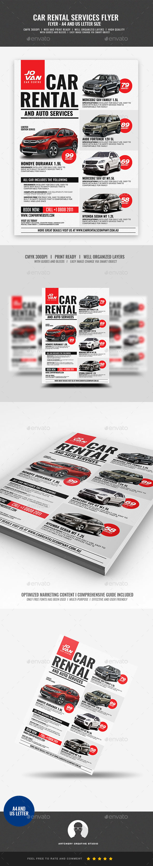 GraphicRiver Car Rental and Services Flyer 21035932