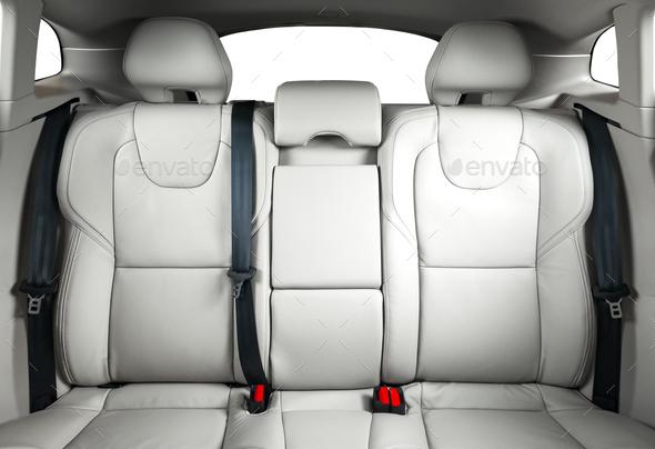 Back Seats Of Modern Luxury Car White