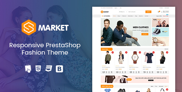 ThemeForest Smarket Clothing Responsive Prestashop 1.7 Theme 21035983