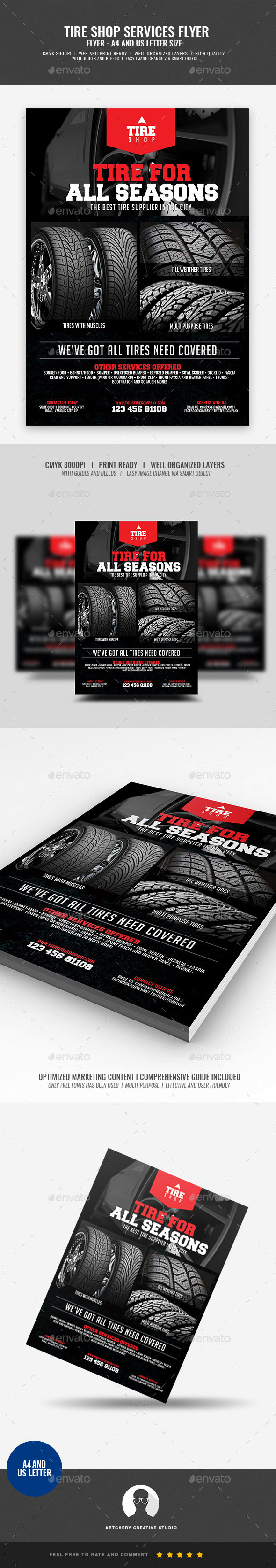 Tire Shop and Accessories Flyer - Corporate Flyers