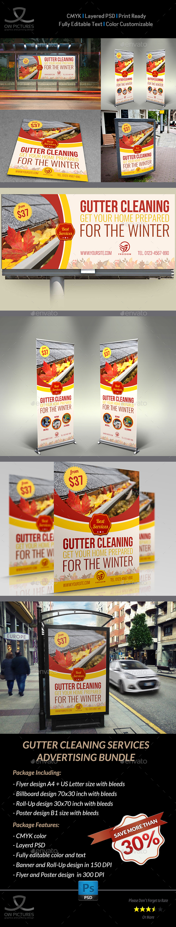 GraphicRiver Gutter Cleaning Services Advertising Bundle 21036189