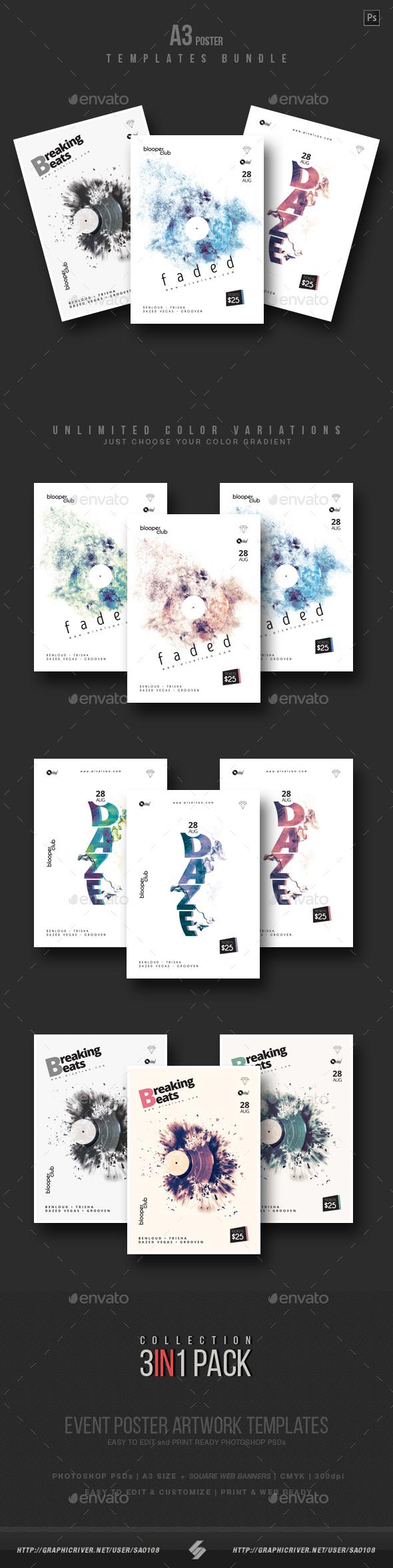 GraphicRiver Minimal Sound vol.6 Party Flyer Poster Templates Bundle 21036212