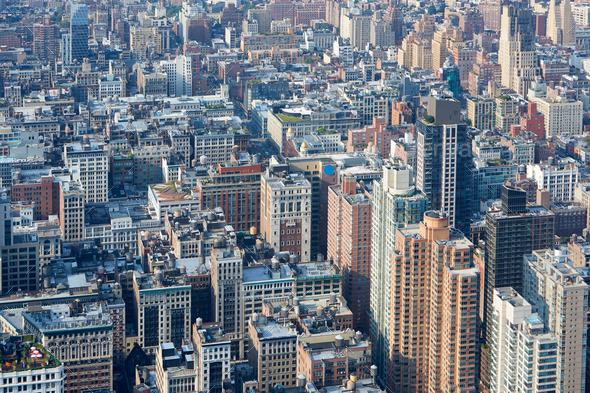 New York City Manhattan aerial view, skyscrapers background - Stock Photo - Images