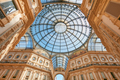 Milan, Vittorio Emanuele gallery interior, low angle view in Italy - PhotoDune Item for Sale