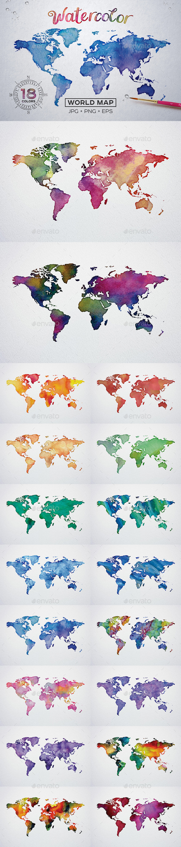 Watercolor world map printable poster 18 vector and raster worldmap watercolor world map printable poster 18 vector and raster worldmap miscellaneous backgrounds gumiabroncs Images