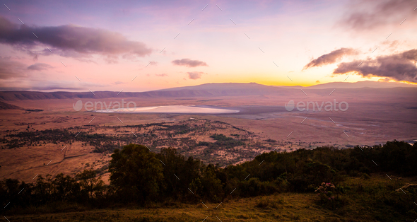 Early morning sunrise in the Ngorongoro crater - Stock Photo - Images