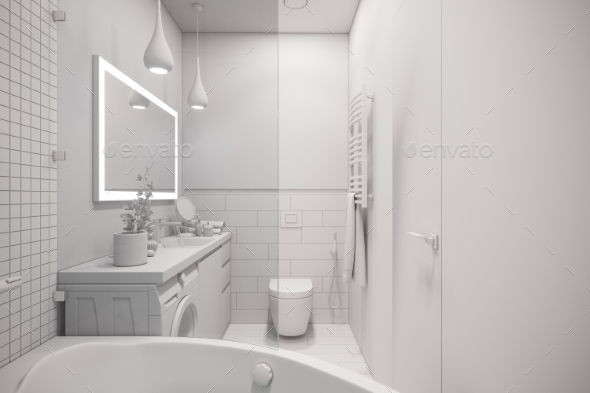 3d Illustration of an Interior Design of a White - Architecture 3D Renders