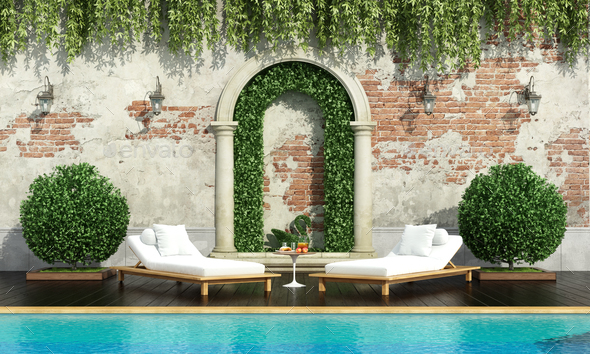 Classic garden with pool - Stock Photo - Images