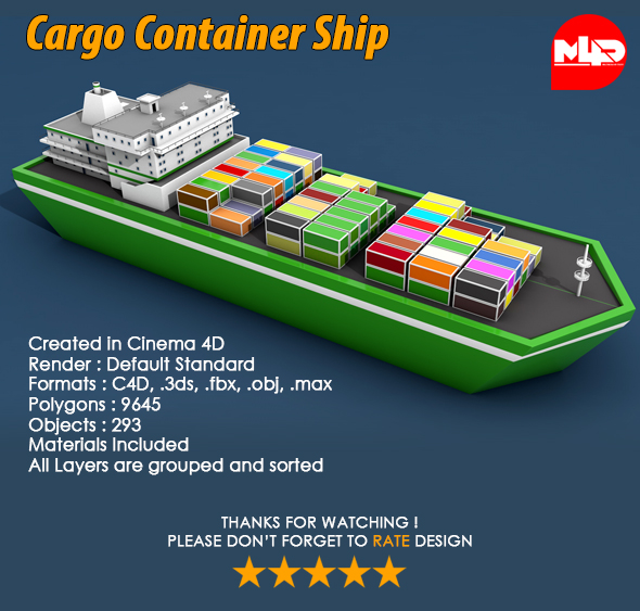 3DOcean Cargo Container Ship 21037394