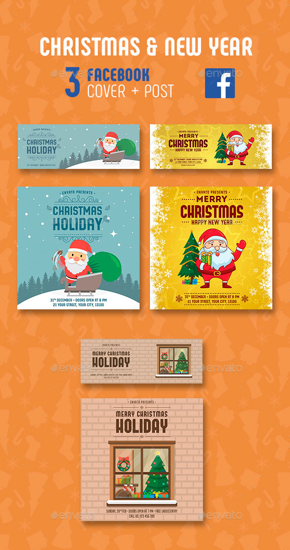 GraphicRiver Christmas & Happy New Year Facebook 21037411
