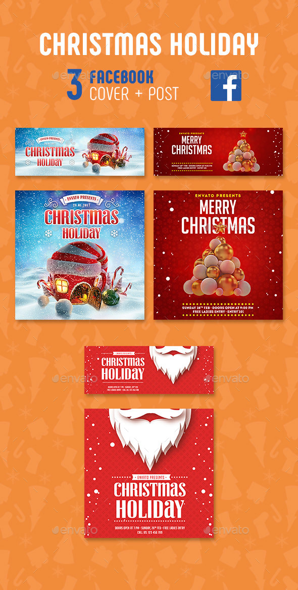 GraphicRiver Merry Christmas Facebook 21037426