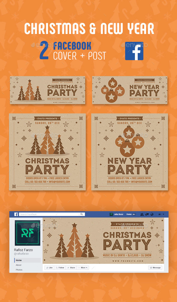 GraphicRiver Christmas & New Year Facebook 21037433