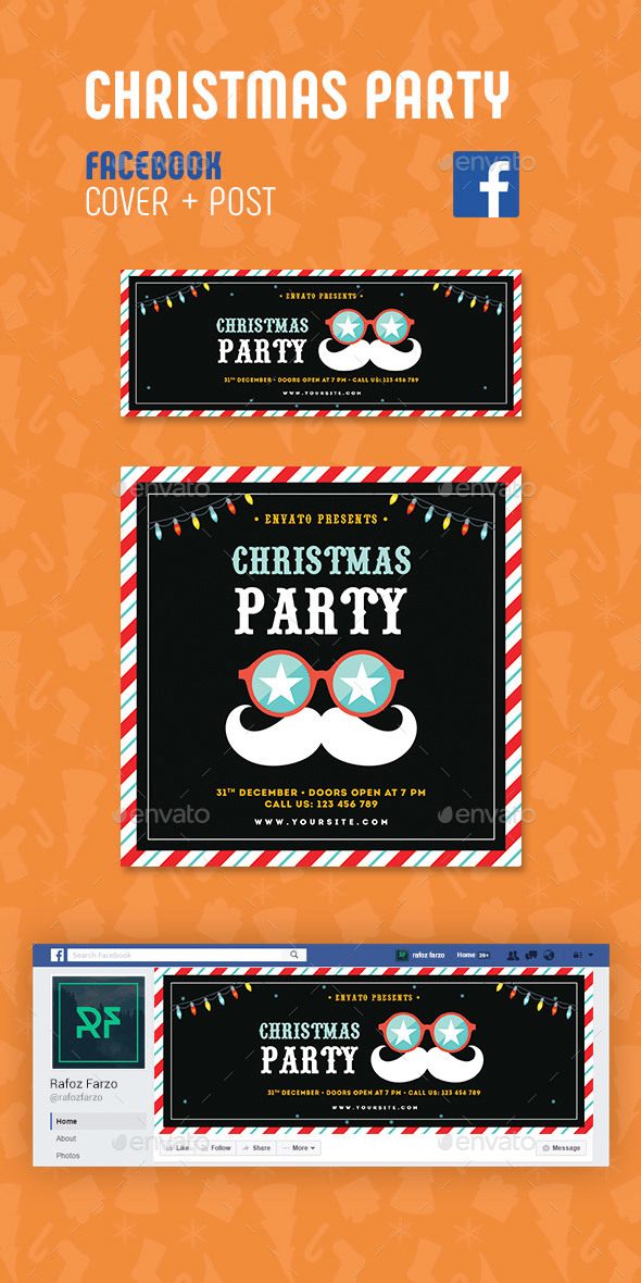 GraphicRiver Christmas Party Facebook 21037725