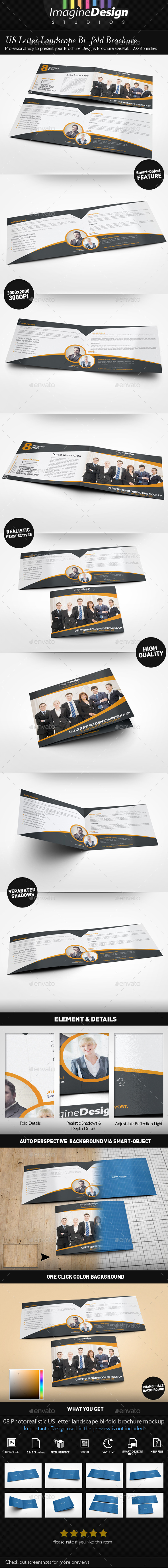 US Letter Landscape Bi-fold Brochure Mock-Up - Brochures Print