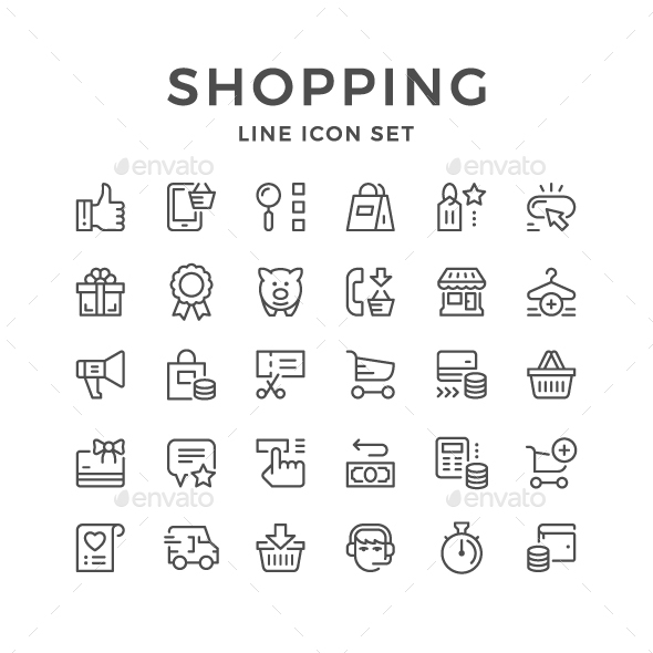 GraphicRiver Set Line Icons of Shopping 21038039