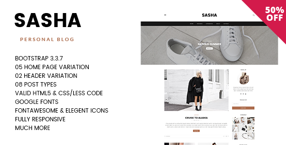 SASHA - Lifestyle, Storyteller Responsive Blogging HTML5 Template with PSD Files