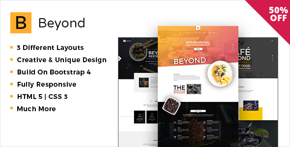 Image of Beyond Restaurant and Cafe Website Template