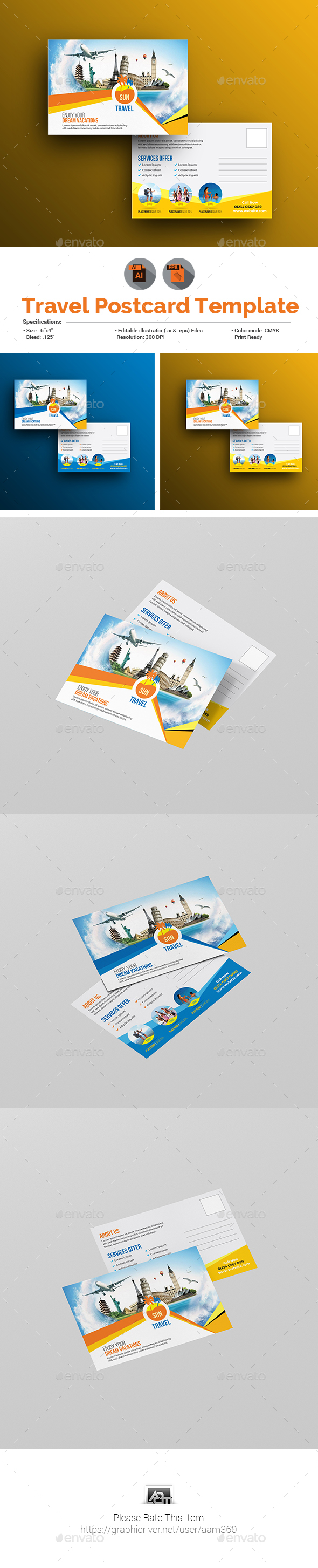 Travel Postcard Template - Cards & Invites Print Templates