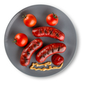 Fried sausages with ketchup on plate - PhotoDune Item for Sale