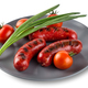 Attractive sausages with tomatoes and onions  on gray plate - PhotoDune Item for Sale