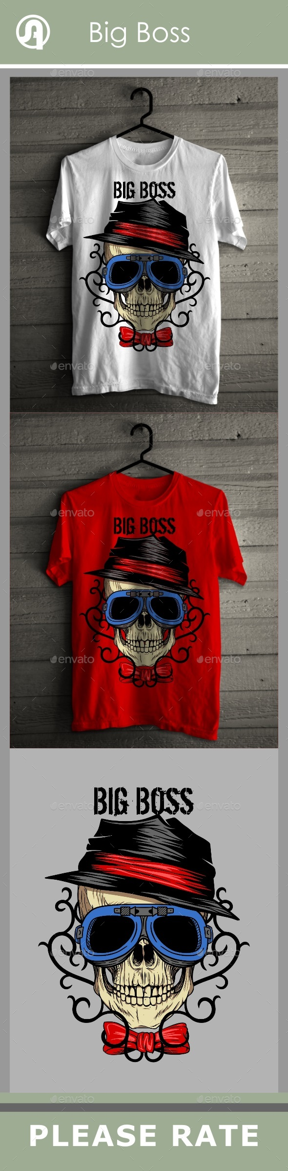 Big Boss Skull with Tribal Background - T-Shirts