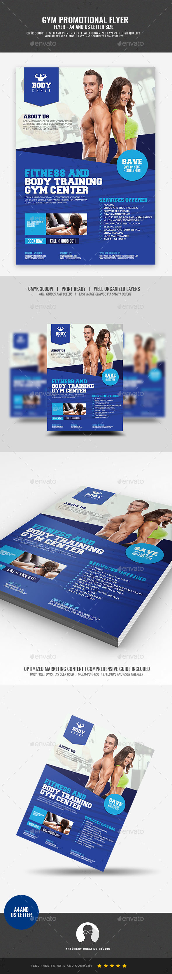 GraphicRiver Gym Fitness Promotional Flyer 21009065
