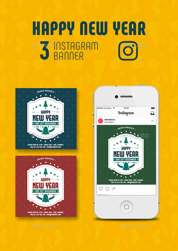 GraphicRiver Happy New Year Instagram Banner 21039487