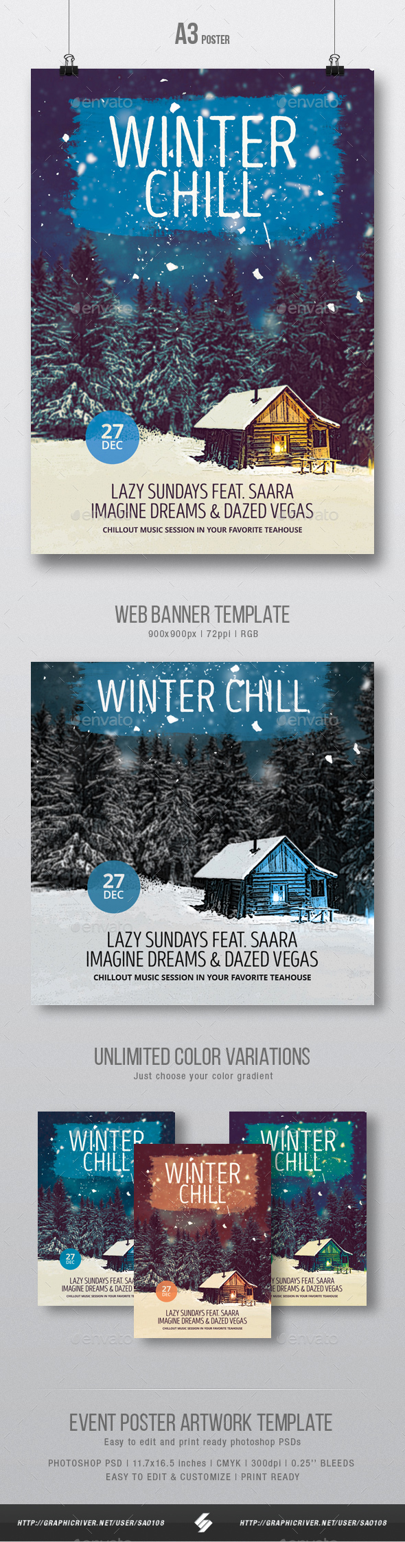 GraphicRiver Winter Chill 2 Chillout Session Poster Template A3 21039614