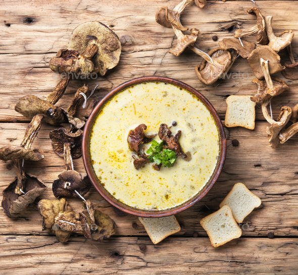 Rustic mushroom soup - Stock Photo - Images