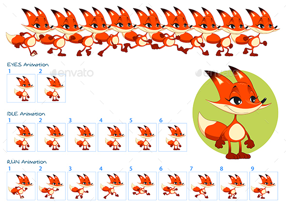 GraphicRiver Run Blinking Eyes and Idle Animations of Cartoon Fox Character 21039820