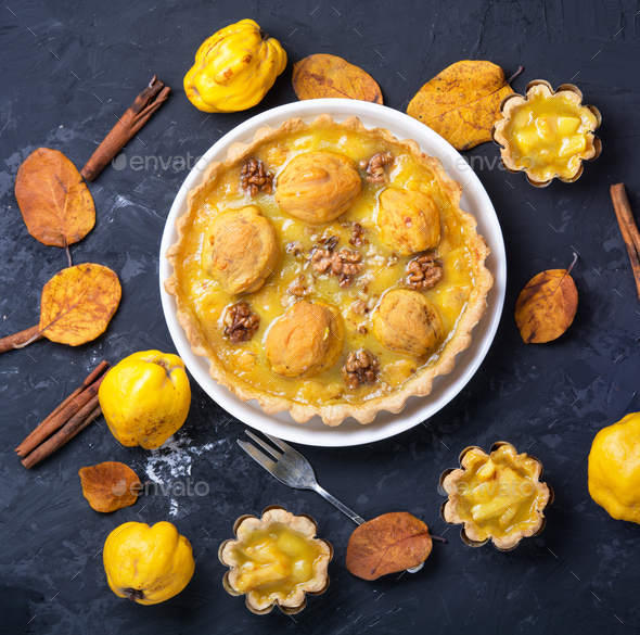home pie with quince - Stock Photo - Images