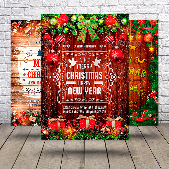 GraphicRiver Christmas & New Year Flyer Bundle 21040168