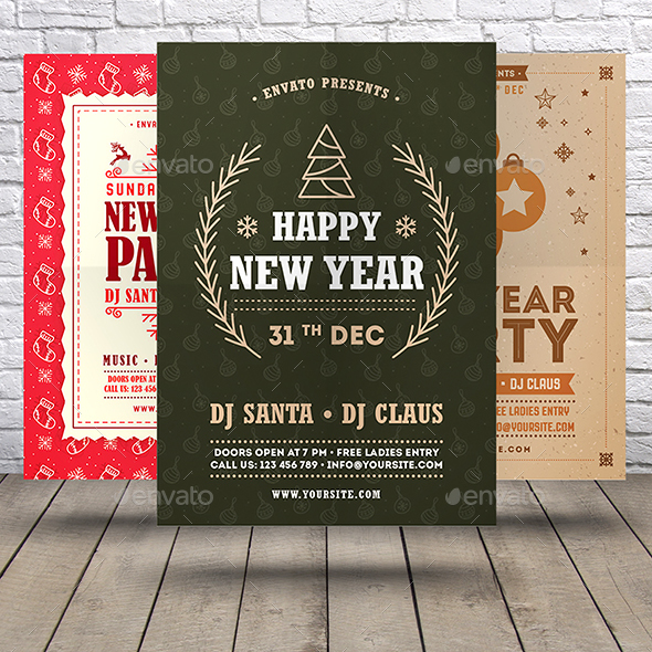 GraphicRiver New Year Flyer Bundle 21040264