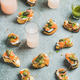Crostini with smoked salmon and grapefruit cocktails in glasses - PhotoDune Item for Sale