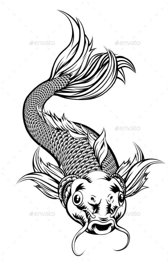GraphicRiver Vintage Style Koi Carp Fish 21040465