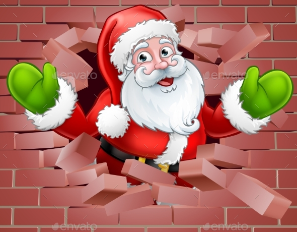 GraphicRiver Santa Cartoon Breaking Through a Wall Background 21040481