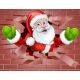 Santa Cartoon Breaking Through a Wall Background
