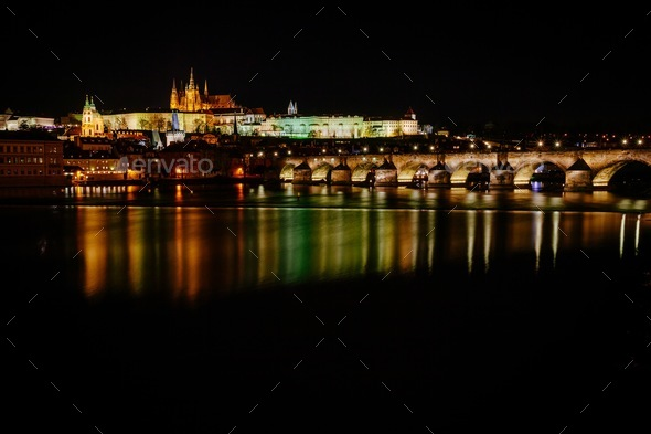 The View From The River Vltava At Charles Bridge And Prague Castle