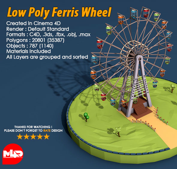 3DOcean Low Poly Ferris Wheel 21040714