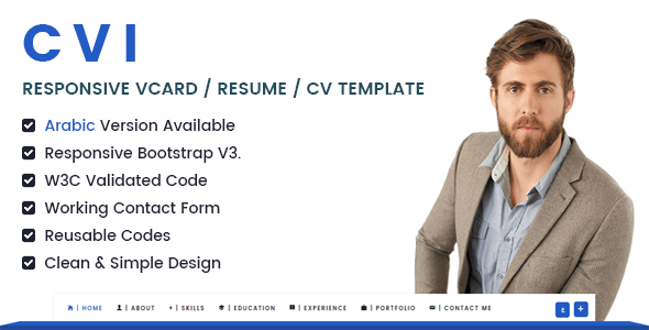 Cvi responsive vcard resume cv template by hananhamdy themepreview00previewg themepreview01 english versiong themepreview02 arabic versiong yelopaper Images