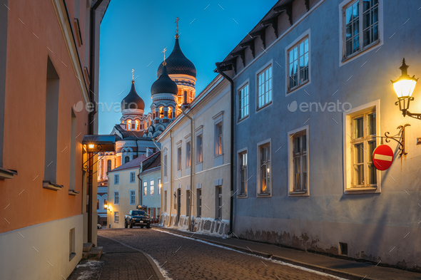 Tallinn, Estonia. Evening View Of Alexander Nevsky Cathedral Fro - Stock Photo - Images