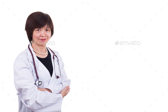 Asian female medical doctor with stethoscope on white background - Stock Photo - Images