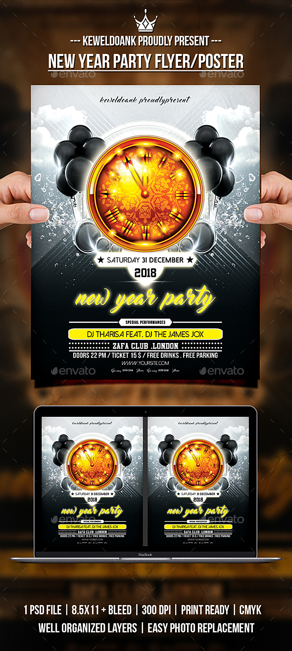 GraphicRiver New Year Party Flyer Poater 21041120